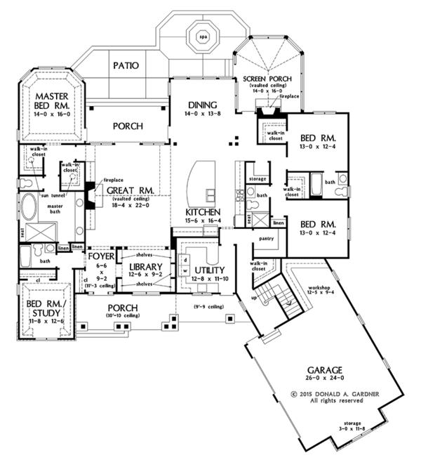 Ranch Floor Plan - Main Floor Plan Plan #929-1007