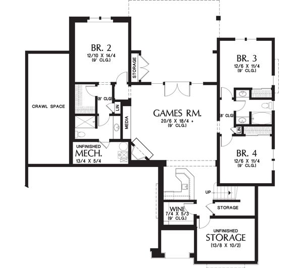 Craftsman Floor Plan - Lower Floor Plan Plan #48-658