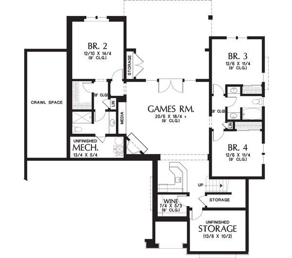 Craftsman Floor Plan - Lower Floor Plan Plan #48-658