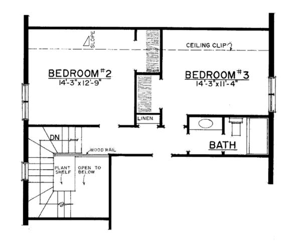 Country Floor Plan - Upper Floor Plan Plan #1016-110