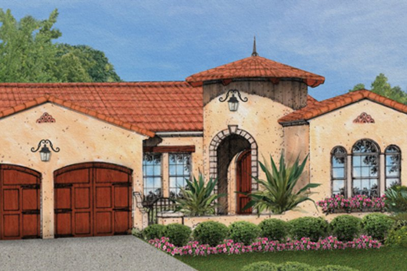 Mediterranean Style House Plan - 3 Beds 2 Baths 1953 Sq/Ft Plan #1058-8 Exterior - Front Elevation