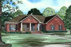 Southern Exterior - Front Elevation Plan #17-617