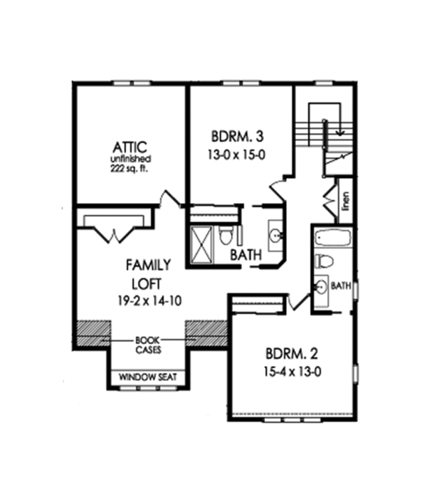 Traditional Floor Plan - Upper Floor Plan Plan #1010-188