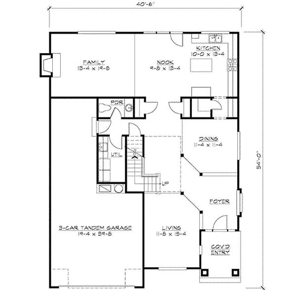 Traditional Floor Plan - Main Floor Plan Plan #132-136