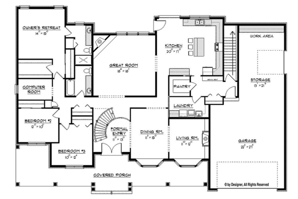 Craftsman Floor Plan - Main Floor Plan Plan #1057-6