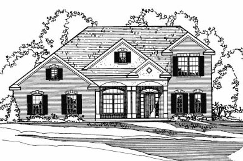Architectural House Design - Colonial Exterior - Front Elevation Plan #31-104