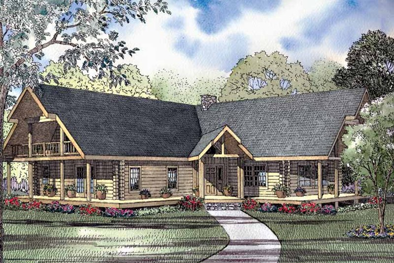 Log Exterior - Front Elevation Plan #17-3025 - Houseplans.com
