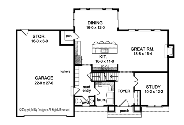Colonial Floor Plan - Main Floor Plan Plan #1010-155