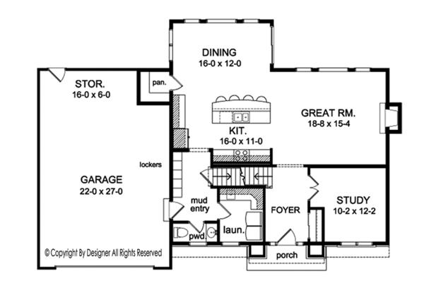Colonial Floor Plan - Main Floor Plan Plan #1010-155