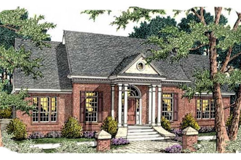 Southern Exterior - Front Elevation Plan #406-291