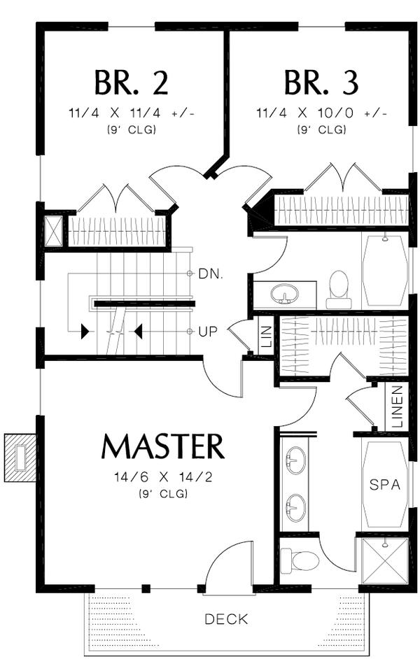 Colonial Floor Plan - Upper Floor Plan Plan #48-1008