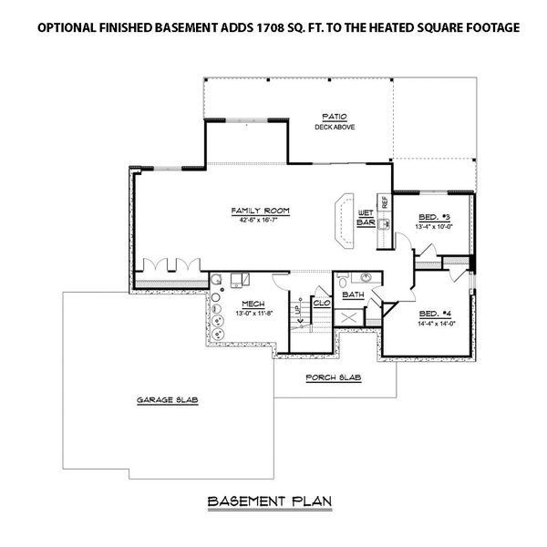 Ranch Floor Plan - Lower Floor Plan #1064-86