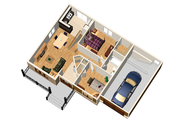 Country Style House Plan - 2 Beds 1 Baths 806 Sq/Ft Plan #25-4537