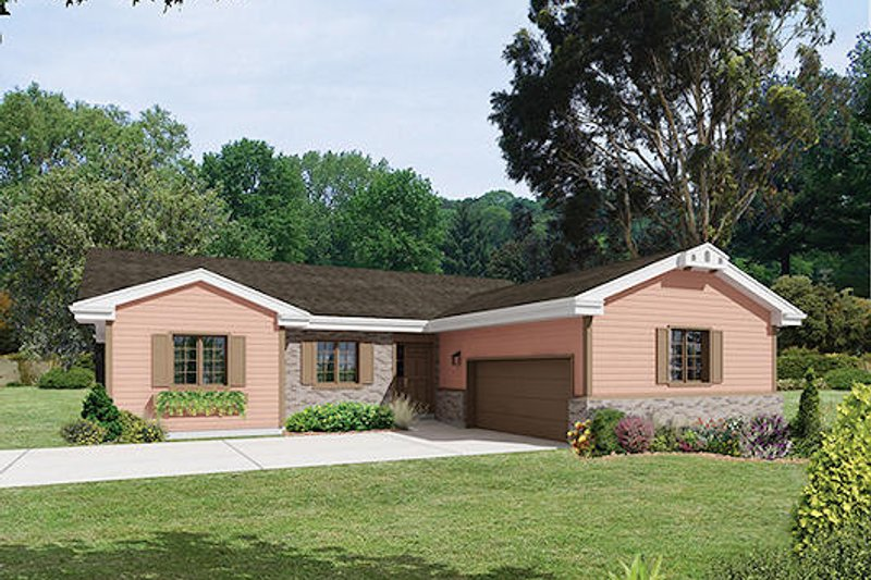 Ranch Style House Plan - 4 Beds 2 Baths 2076 Sq/Ft Plan #57-469 Exterior - Front Elevation