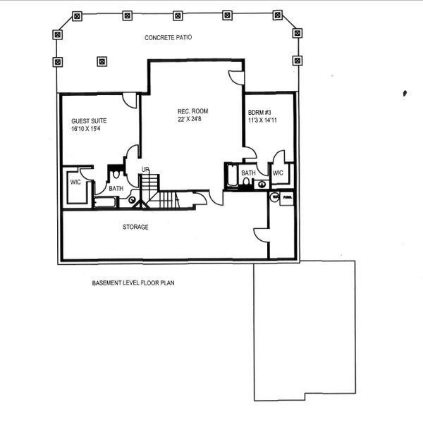 House Design - Craftsman Floor Plan - Lower Floor Plan #117-891