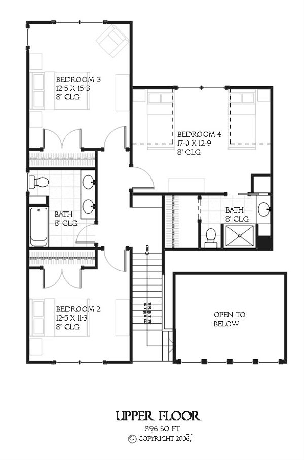 Bungalow style house plan, Craftsman design, upper level floor plan