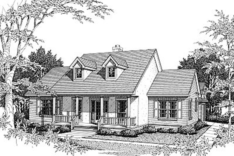 European Style House Plan - 3 Beds 2 Baths 1647 Sq/Ft Plan #14-124 Exterior - Front Elevation