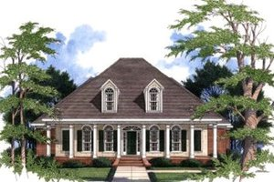 Southern Exterior - Front Elevation Plan #37-110