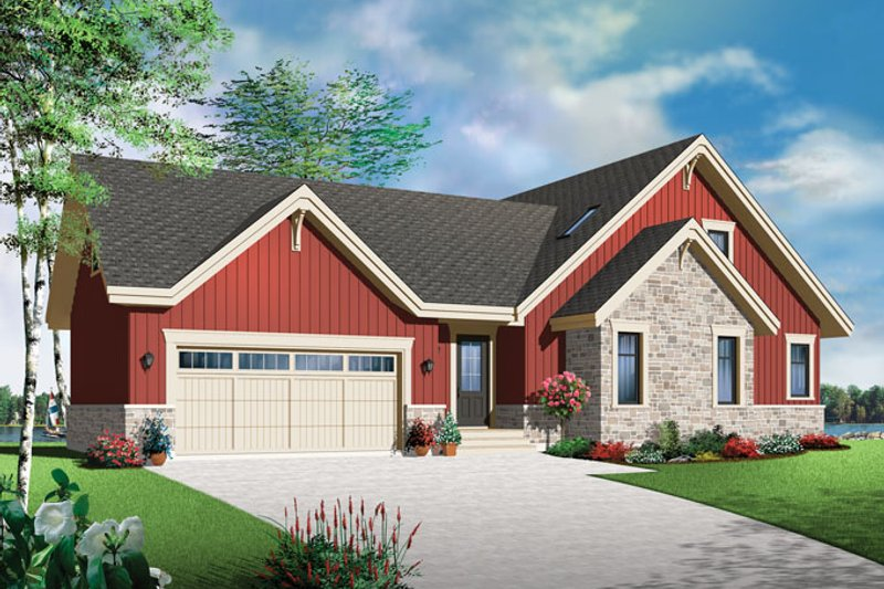 Country Exterior - Front Elevation Plan #23-2590