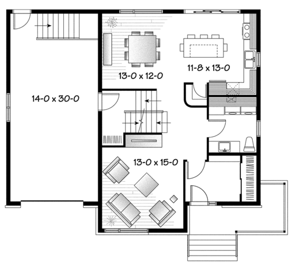 Contemporary Floor Plan - Main Floor Plan Plan #23-2588