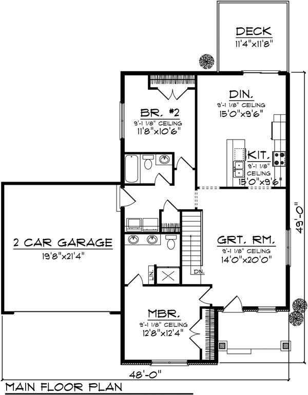 Ranch Floor Plan - Main Floor Plan Plan #70-1018