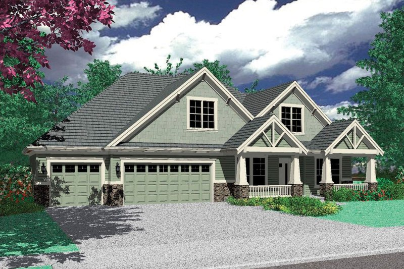 Architectural House Design - Craftsman Exterior - Front Elevation Plan #48-180