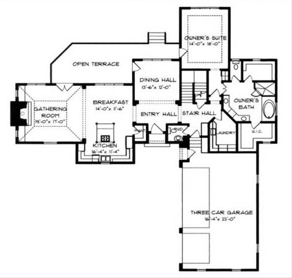 European Floor Plan - Main Floor Plan Plan #413-112