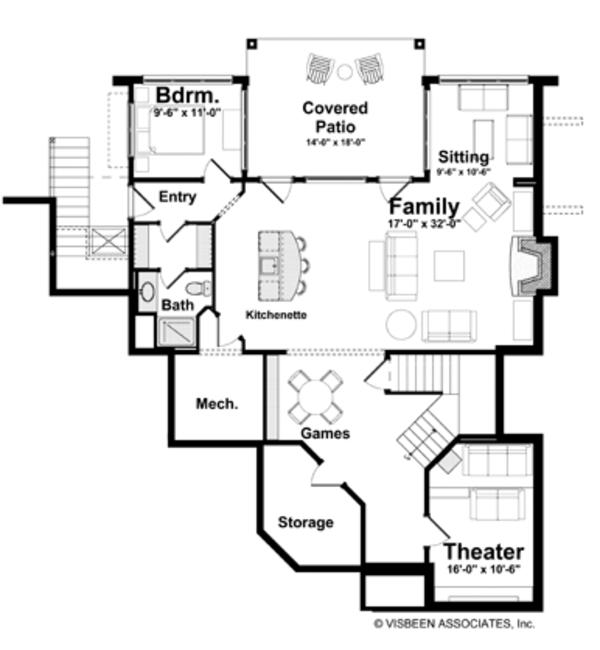 Prairie Floor Plan - Lower Floor Plan Plan #928-226