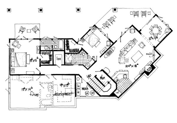 Ranch Floor Plan - Lower Floor Plan Plan #942-31