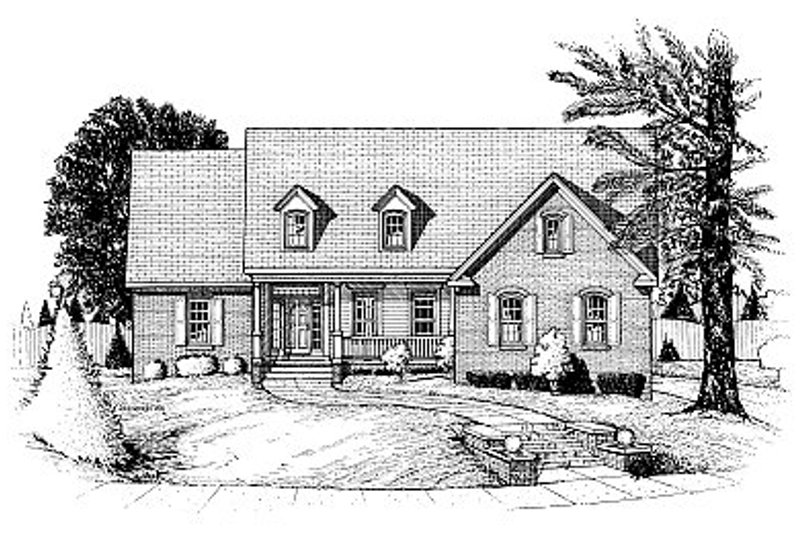 Traditional Style House Plan - 3 Beds 2.5 Baths 2927 Sq/Ft Plan #20-210 Exterior - Front Elevation