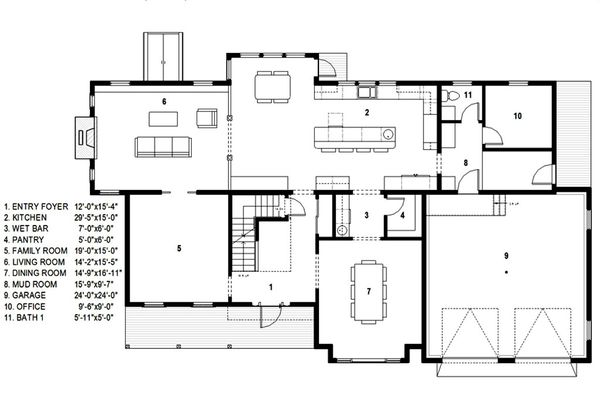 Traditional Floor Plan - Main Floor Plan Plan #497-46