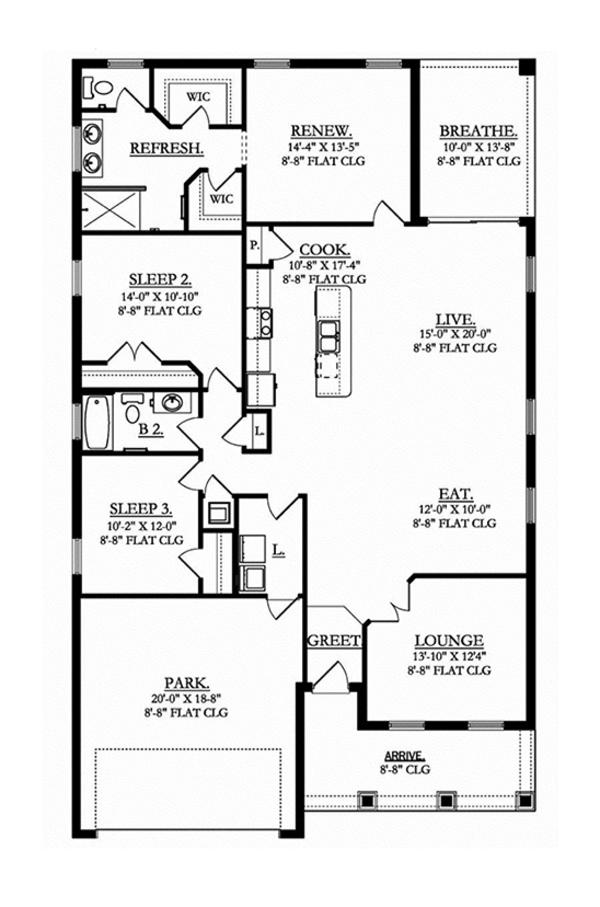 Craftsman Floor Plan - Main Floor Plan Plan #1058-71