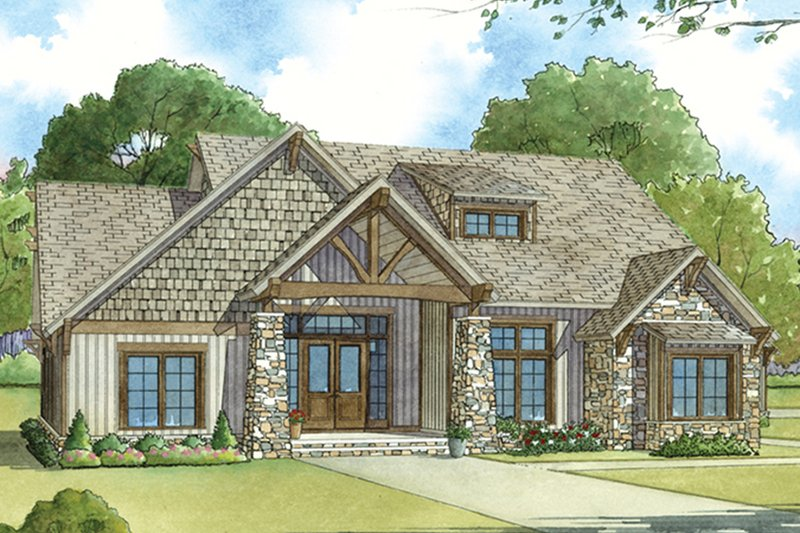Dream House Plan - Ranch Exterior - Front Elevation Plan #17-3408
