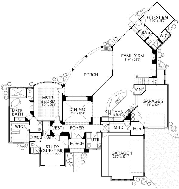 Mediterranean Floor Plan - Main Floor Plan Plan #80-212