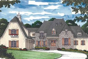 Architectural House Design - Country Exterior - Front Elevation Plan #453-469