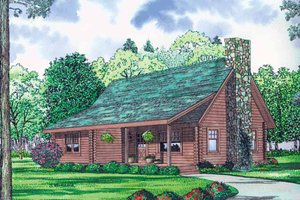 Log Exterior - Front Elevation Plan #17-3137