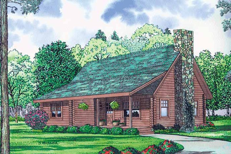 Log Exterior - Front Elevation Plan #17-3137
