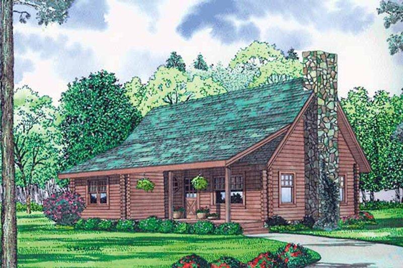 Log Exterior - Front Elevation Plan #17-3137 - Houseplans.com