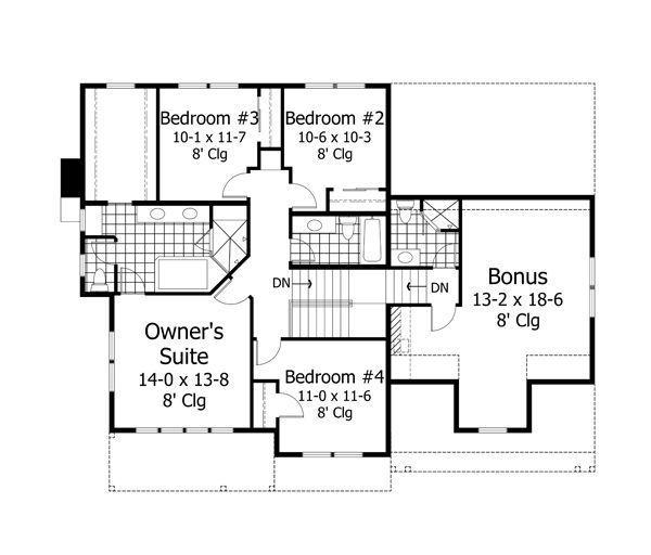 Traditional Floor Plan - Upper Floor Plan Plan #51-529