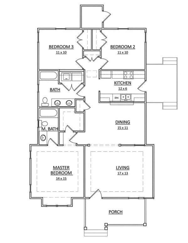 Craftsman Floor Plan - Main Floor Plan Plan #936-18
