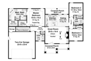 Ranch Style House Plan - 3 Beds 2 Baths 1627 Sq/Ft Plan #21-428