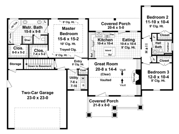 Ranch Style House Plan - 3 Beds 2 Baths 1627 Sq/Ft Plan #21-428 Floor Plan - Main Floor Plan