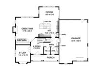Colonial Floor Plan - Main Floor Plan Plan #1010-86