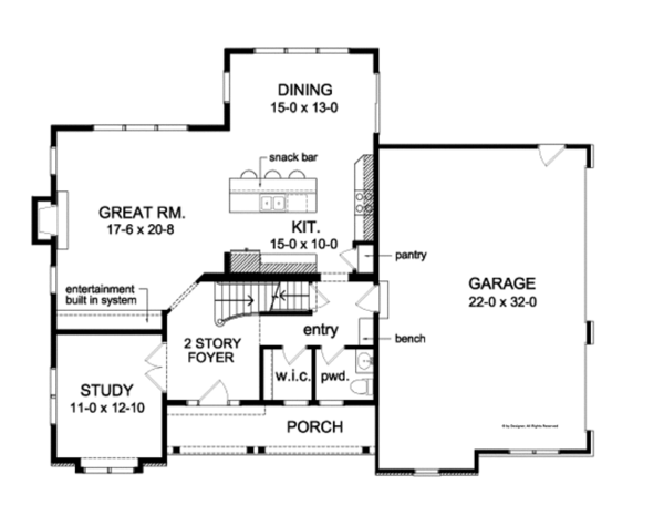 Colonial Floor Plan - Main Floor Plan Plan #1010-86