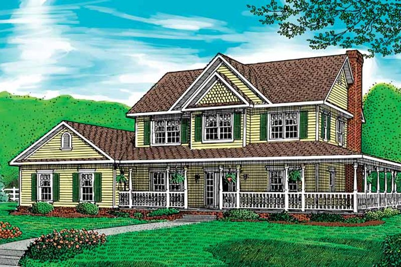 Country Exterior - Front Elevation Plan #11-251 - Houseplans.com
