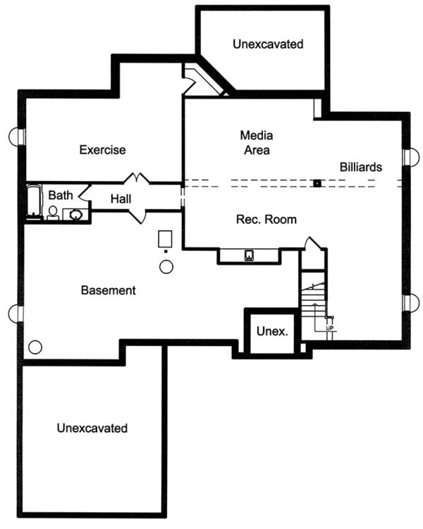 House Plan Design - European Floor Plan - Lower Floor Plan #46-854