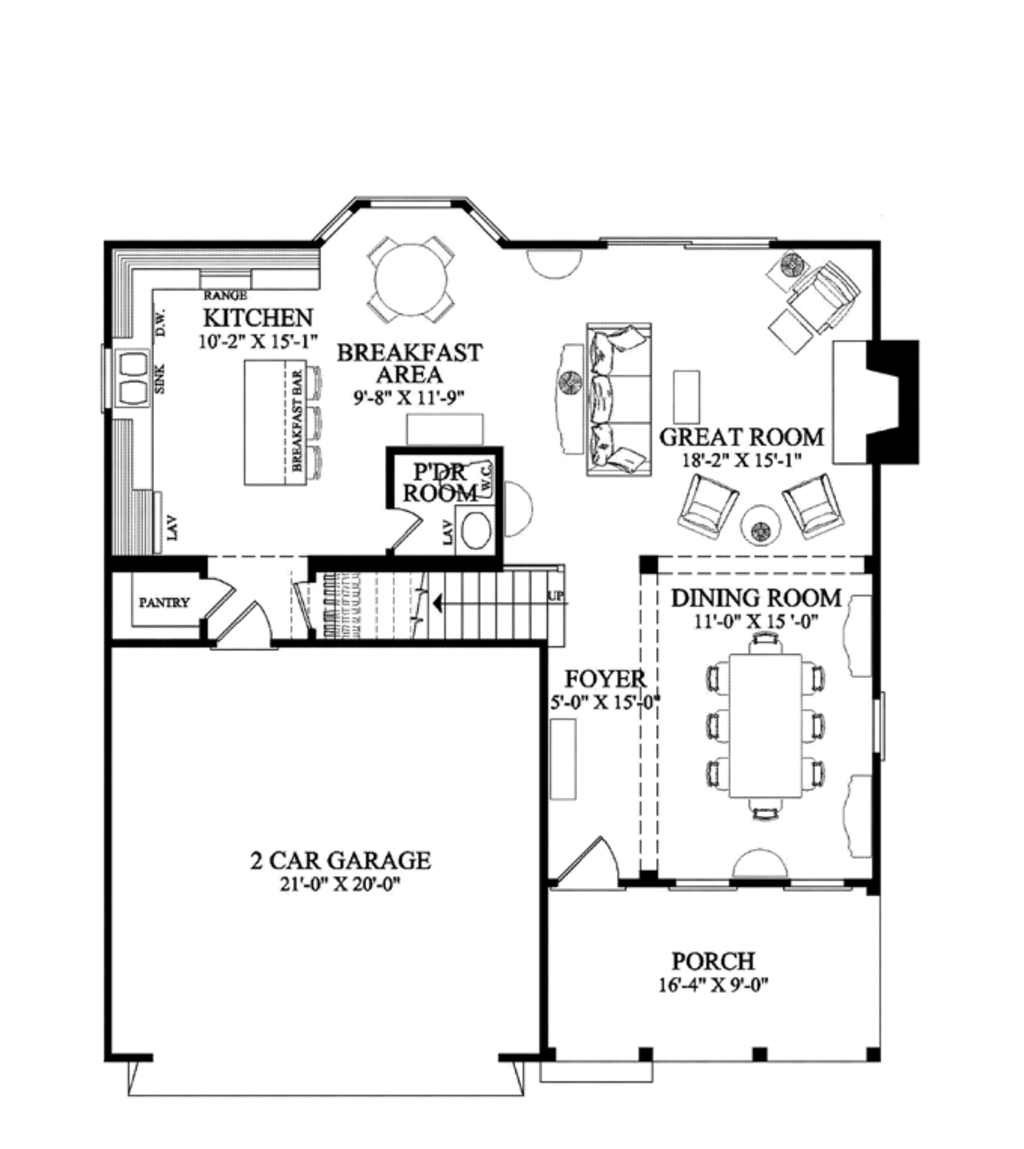 Traditional Style House Plan 3 Beds 25 Baths 2068 SqFt Plan 137 – Floor Plans With Great Rooms