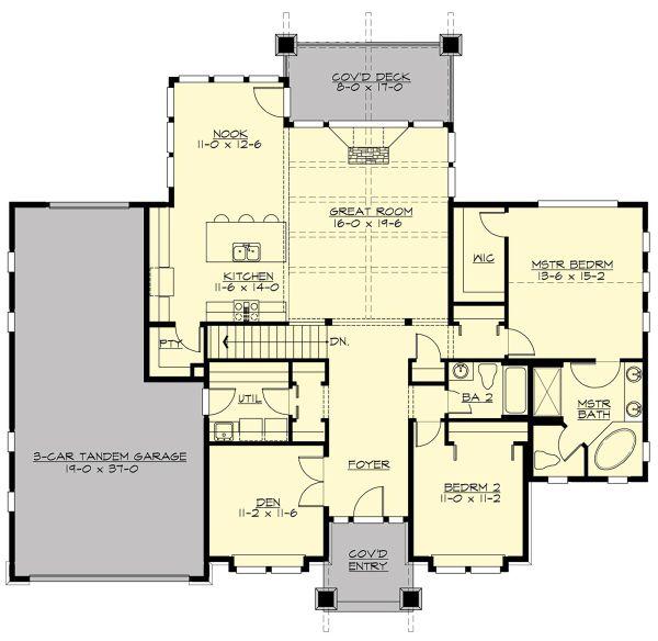 Craftsman Floor Plan - Main Floor Plan Plan #132-570