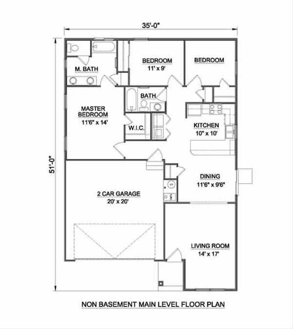 Cottage Style House Plan - 3 Beds 2 Baths 1234 Sq/Ft Plan #116-260 Floor Plan - Other Floor Plan