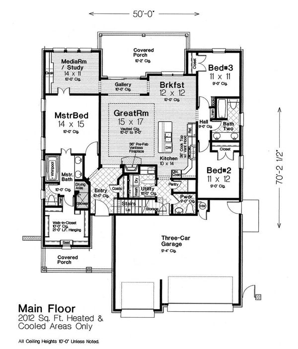 Dream House Plan - European Floor Plan - Main Floor Plan #310-1307